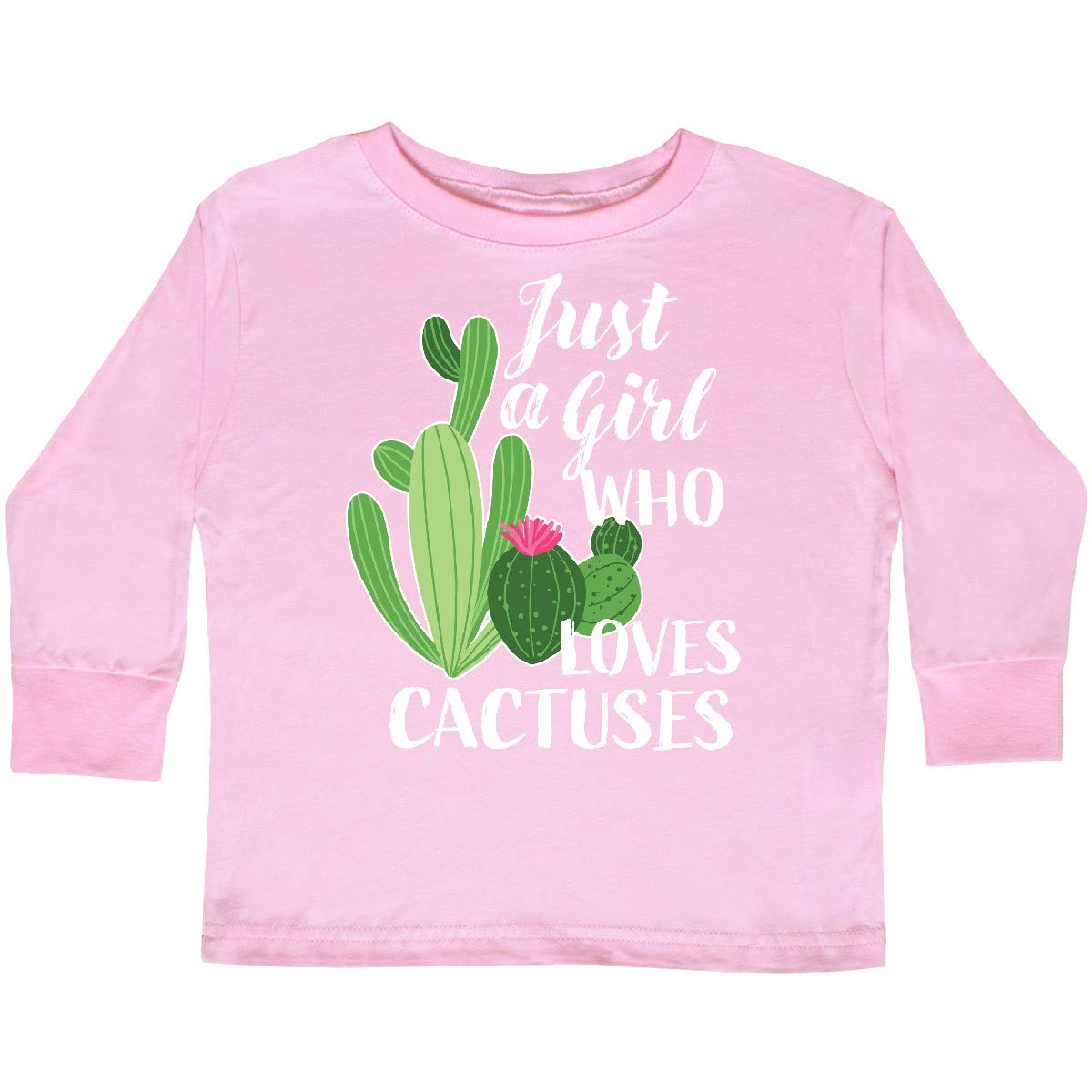 inktastic Just a Girl Who Loves Cactuses Toddler Long Sleeve T-Shirt