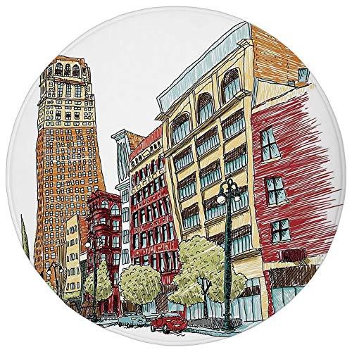 Round Rug Mat Carpet,Farm House Decor,Grunge Graphic of European Avenue Modern Urban Life Downtown City Streets,Red Orange,Flannel Microfiber Non-Slip Soft Absorbent,for Kitchen Floor Bathroom]()