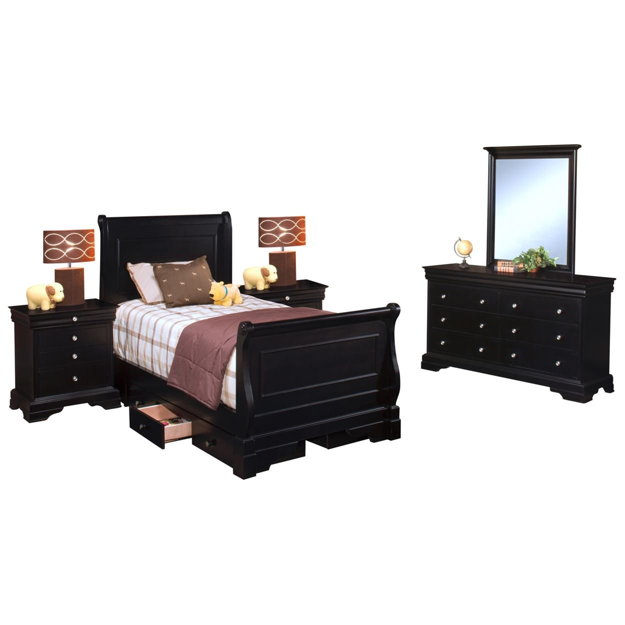 Black Hills Youth Sleigh 5 Piece Storage Twin Bed, 2 Nightstand, Dresser & Mirror in Black