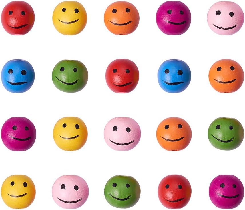 Pandahall Precio por 20 Piezas -Color Mixto, la Bola del Rostro Sonriente de los Abalorios Gruesos de Madera para Hacer el Regalo del Dia de Infantil, sin Plomo, 25x24mm, Agujero: 4mm