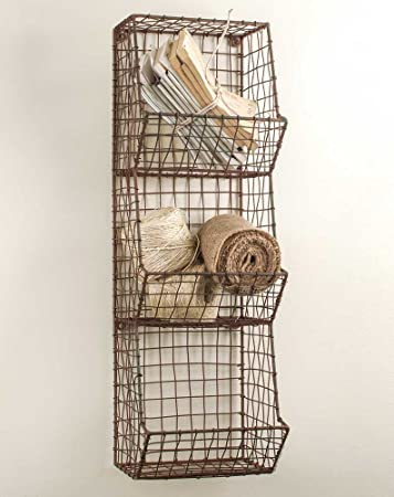 vintage industrial rustic style metal u0026 wire storage bins basket rack - Metal Storage Bins