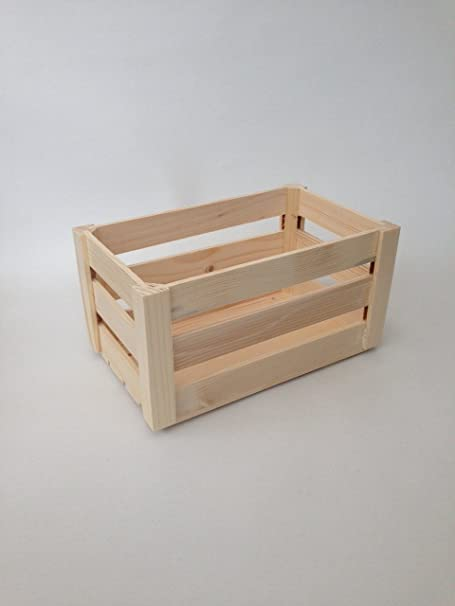 Caja de madera llana no pintada conjunto almacenaje pequeño caja del arte (M - 28 x 17 x 12 cm): Amazon.es: Hogar