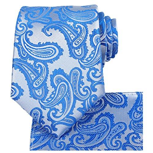 KissTies Tie Set: Paisley Necktie + Hanky Pocket Square + Gift Box, Blue