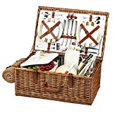 Cheap Picnic at Ascot Dorset English-Style Willow Picnic Basket with Service for 4 and Blanket – Santa Cruz