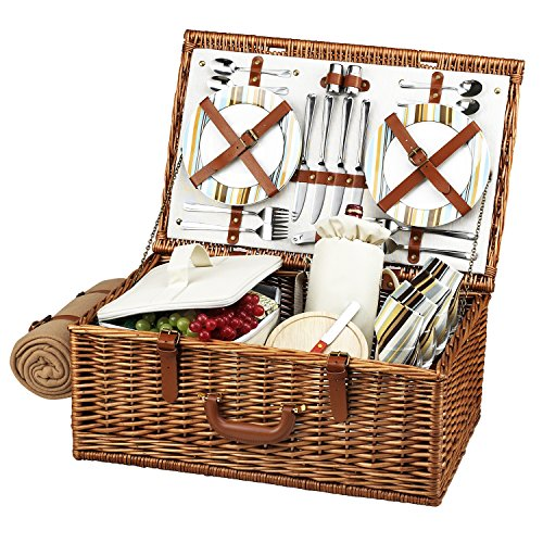 Picnic at Ascot Dorset English-Style Willow Picnic Basket with Service for 4 and Blanket - Santa - Baskets English Willow
