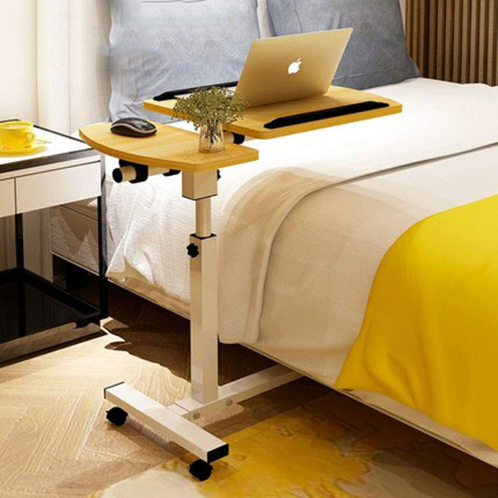 AA-SS-Over-Bed Tables Silla Multifuncional móvil para Cama Mesa Sofá Lateral Portátil Ordenador portátil Escritorio PC Soporte Altura Ajustable con 4 Ruedas ...