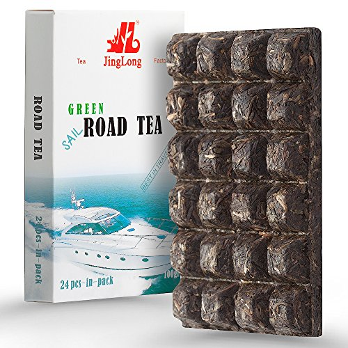 Pu erh Green Tea of 24 Portions for 48 Servings - Yunnan Chinese Aged Raw Pu-erh Tea - Green Puerh Tea Loose Leaf - Natural Detox Sheng Puer Brick with Caffeine for Weight Loss –Tea Cakes - 100gram