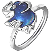 Color Changing Mood Ring Elephant Shaped Imitation White Gold Plated Thermochromic Liquid Crystal Ring (7.5)