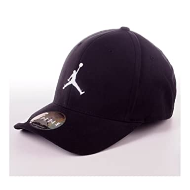 81fbfcb40020 Nike Mens Jordan Unisex Flex Fit hat Black White 606365-014 Size Small