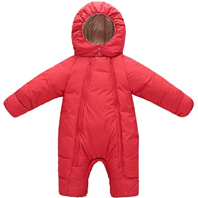 Baby Girls Boys One Piece Soild Color Zipper Winter Warm Hoodie Romper Snowsuit Jumpsuit
