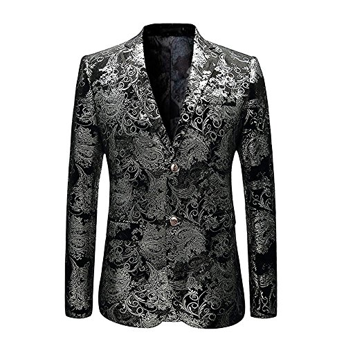 (MAGE MALE Men's Dress Party Floral Suit Jacket Notched Lapel Slim Fit Two Button Stylish Blazer, Medium, Silver)