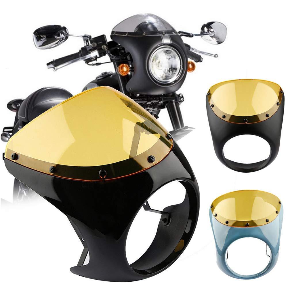 Azul Guajave Caf/é Corredor Manillar Faro Parabrisas 7 Inch Carenado Pantalla para Harley Moto
