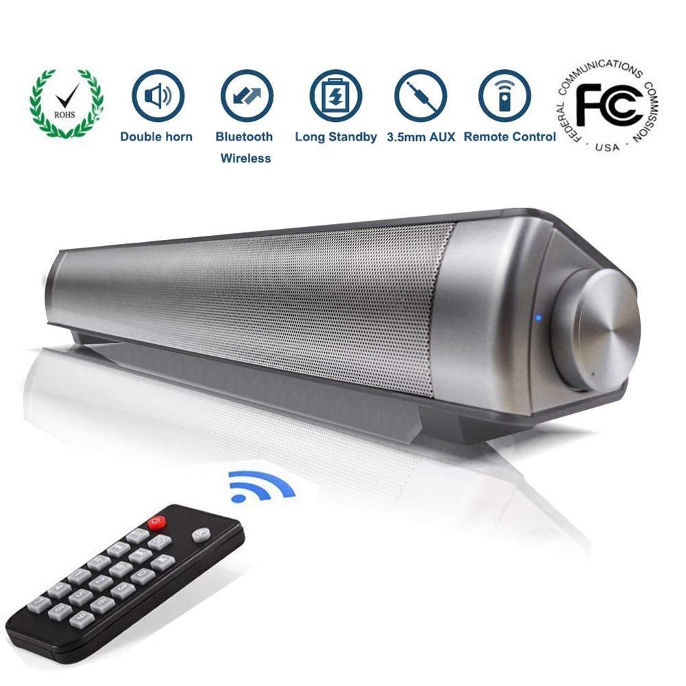 Altavoz Bluetooth, Barra de Sonido TV de Canal 2.0 de Bluetooth Inalámbrico con 3.5mm Aux Tarjeta TF LED indicador, Altavoz Estéreo de 10W con Incorporado Micrófono de Agudos Claros(Esqueleto)