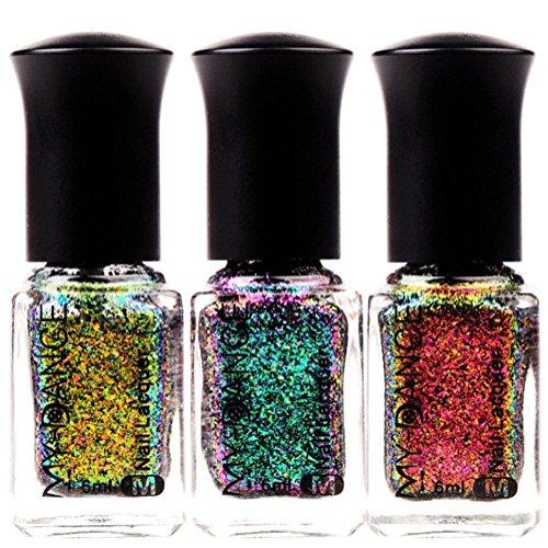 Women 6ml Chameleon Holographic Nail Polish Lasting, Gradient Laser Starry Shiny Effect Nail Art- Black Base Color Needed (#6)