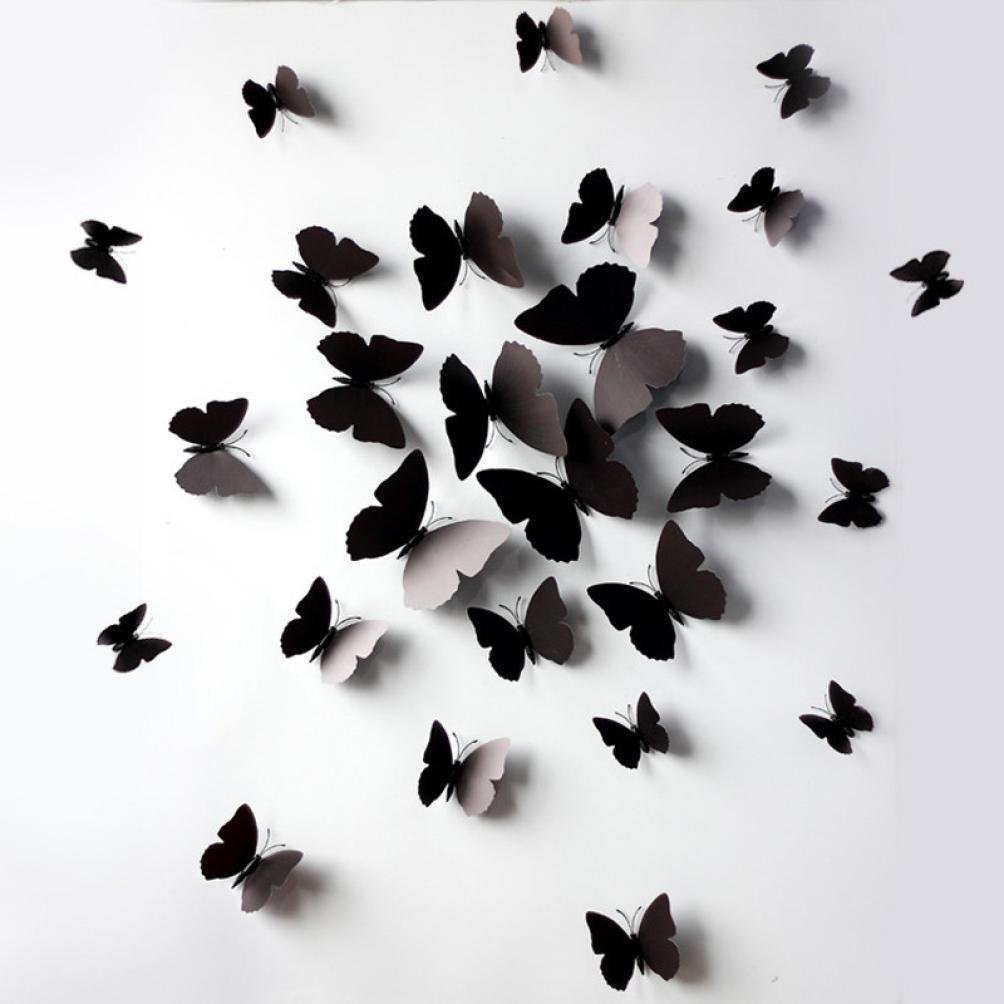 Naladoo 12 Pcs 3D Wall Stickers Butterfly Fridge Magnet for Home Decoration New (Black) IU32566436436