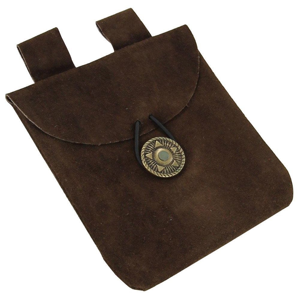 Deluxe Adult Costumes - Medieval Renaissance small brown suede leather pouch