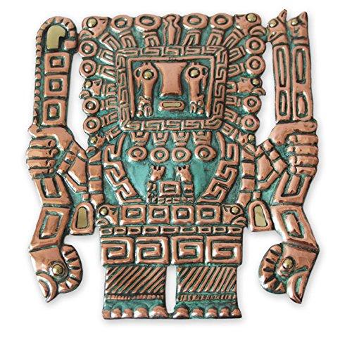 """NOVICA 202684"""" Wiracocha Mask, Copper/Bronze"""