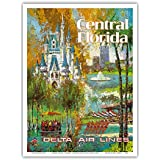 Central Florida - Orlando - Walt Disney World Resort - Delta Air Lines - Vintage Airline Travel Poster by Jack Laycox c.1960s - Master Art Print - 9in x 12in