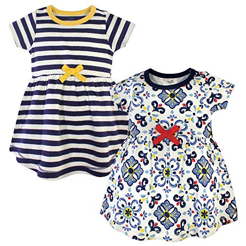 Touched by Nature Baby Girl Organic Cotton Dresses, Pottery Tile Short Sleeve 2 Pack, 3 Toddler (3T)]()