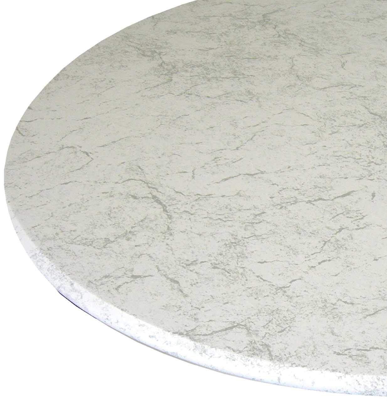 Table Cloth Round 36'' to 48'' Elastic Edge Fitted Vinyl Table Cover Classic White Marble by Table Magic