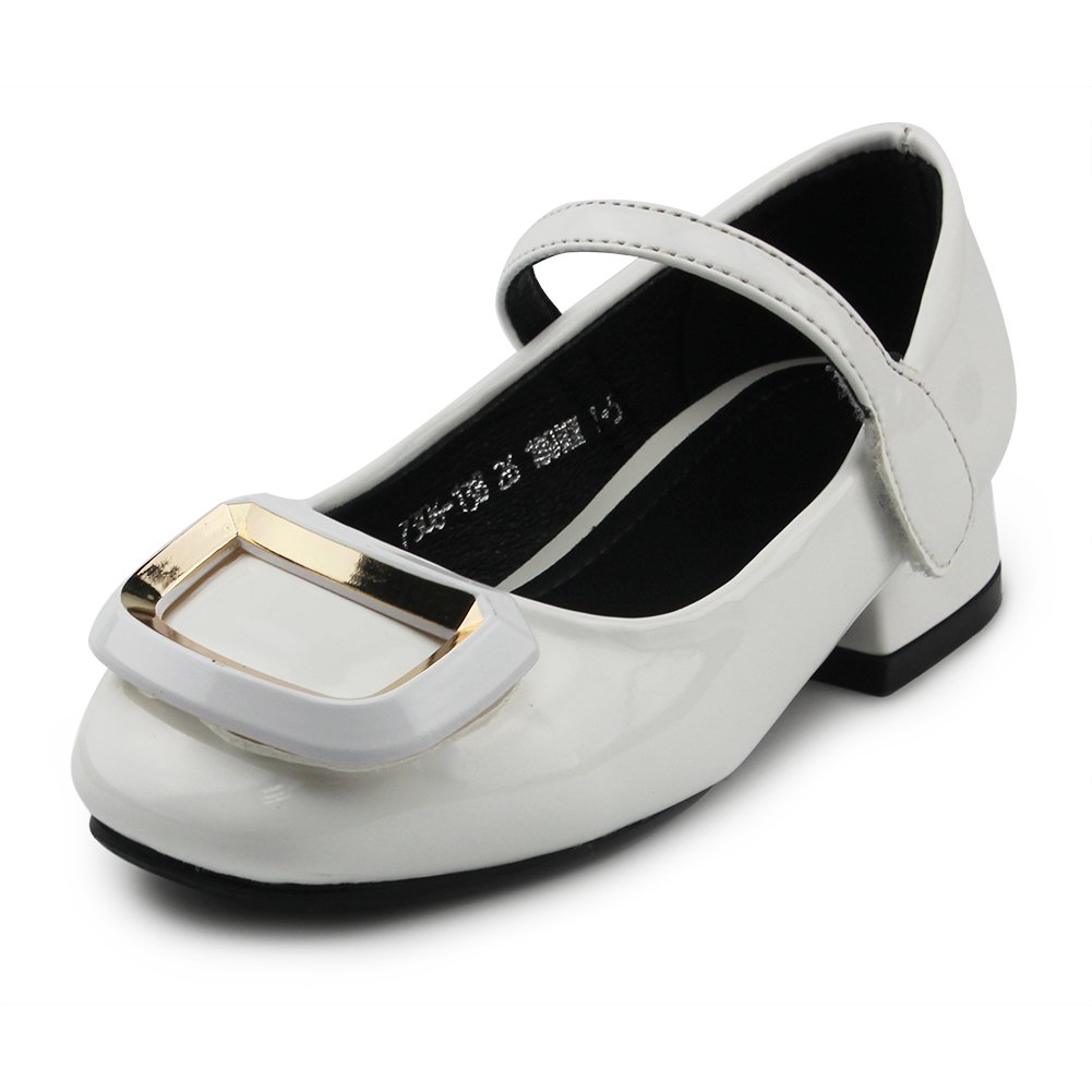 Chiximaxu Kid Dress Sandals Low Heel Mary Jane Buckle Pumps for Little Girl,White,Little Kid Size 10.5
