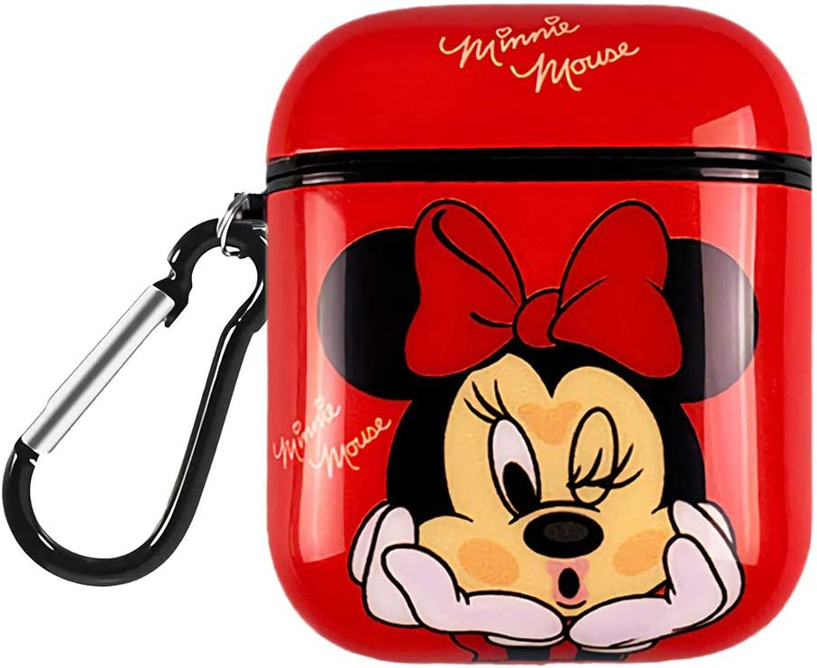 DISNEY COLLECTION Airpods Case,Cute Cartoon Airpods Case,Charging Drop-Proof Silicone Protective Cover Case Compatible with AirPods 2 and 1 (Red Minnie)