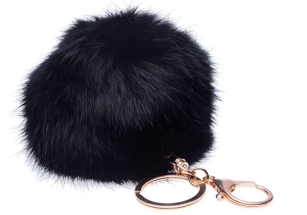 LIFECART Fourrure de lapin de nouveauté Ball or plaqué charme porte-clés pour voiture porte-clés sac-noir