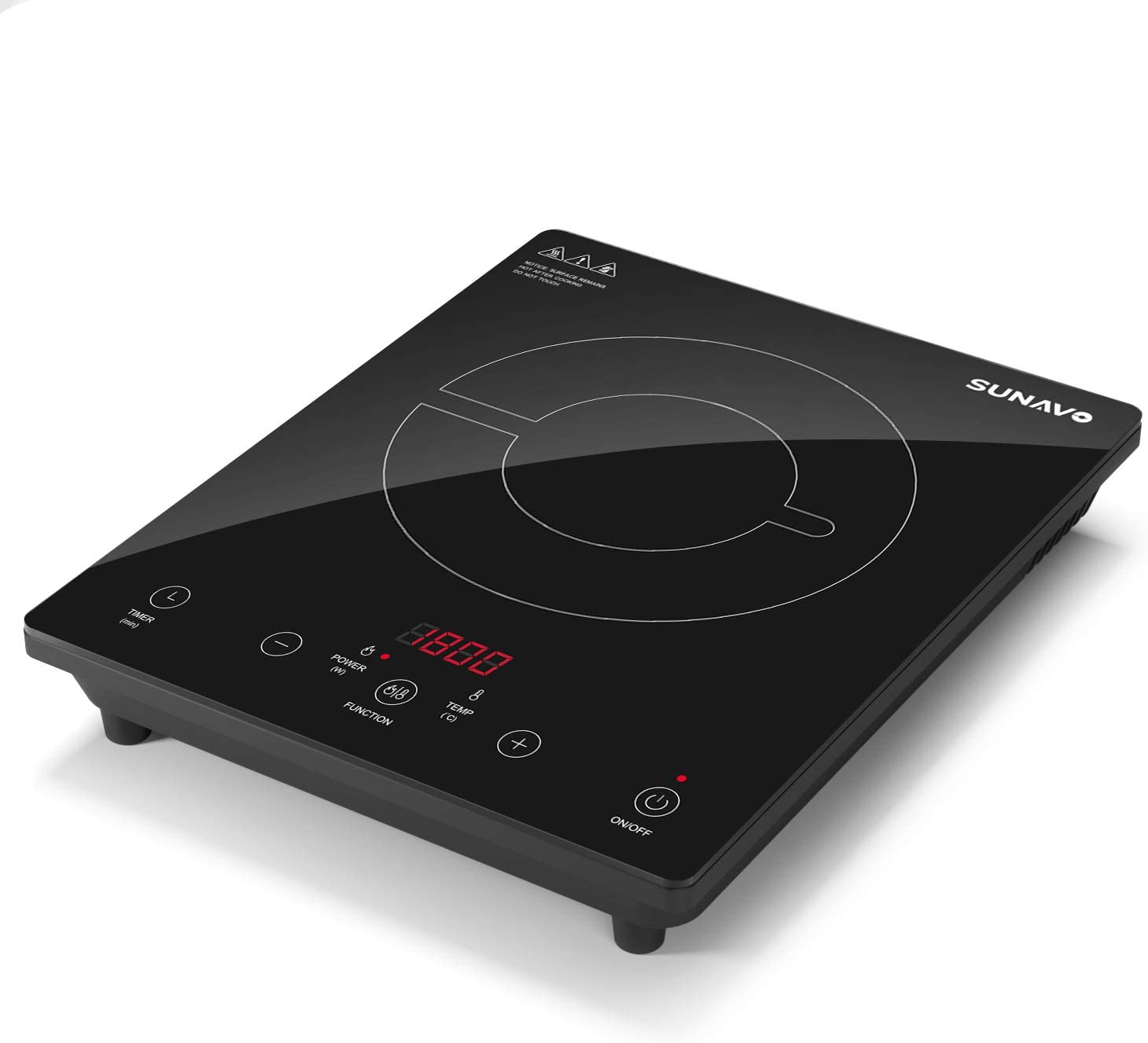 SUNAVO Portable Induction Cooktop, 1800W Sensor Touch Induction Burner with Kids Safety Lock, 15 Temperature Power Setting Countertop Burner with Timer