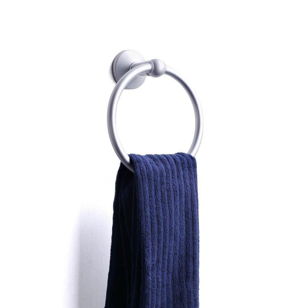 Hanging Towel Ring BathTowel Holder for Modern Bathroom Kitchen Hotel Round Style Wall Mount, Aluminium Oxide Environmental Friendly, Light Grey