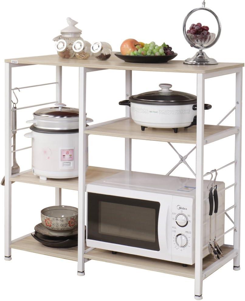 sogesfurniture 3-Tier/3-Tier Kitchen Baker's Rack Utility Storage Shelf Microwave Stand 35.4 inches Storage Cart Workstation Shelf,White Maple BHUS-171-MO