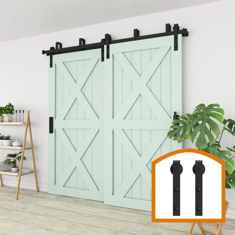 Amazon Com Zekoo 4ft Bypass Sliding Barn Door Hardware Steel Track For Double Wooden Doors Closet Kitchen Kit Low Ceiling Home Improvement