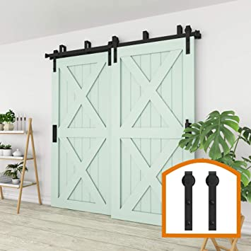 Amazon Com Zekoo New Style 5 Ft 16 Ft Bypass Sliding Barn Door Hardware Steel Track For Double Wooden Doors Closet Kitchen Kit 7 5ft New Style Bypass Kit Low Ceiling Home Improvement