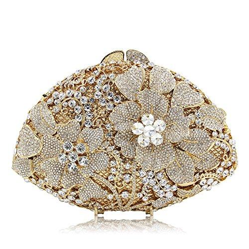 Cristal Bouquet Sac Sac Strass Main Totes Soirée Sacs Fleur Bandoulière D'embrayage Gold De À À Femmes wqId8xYY