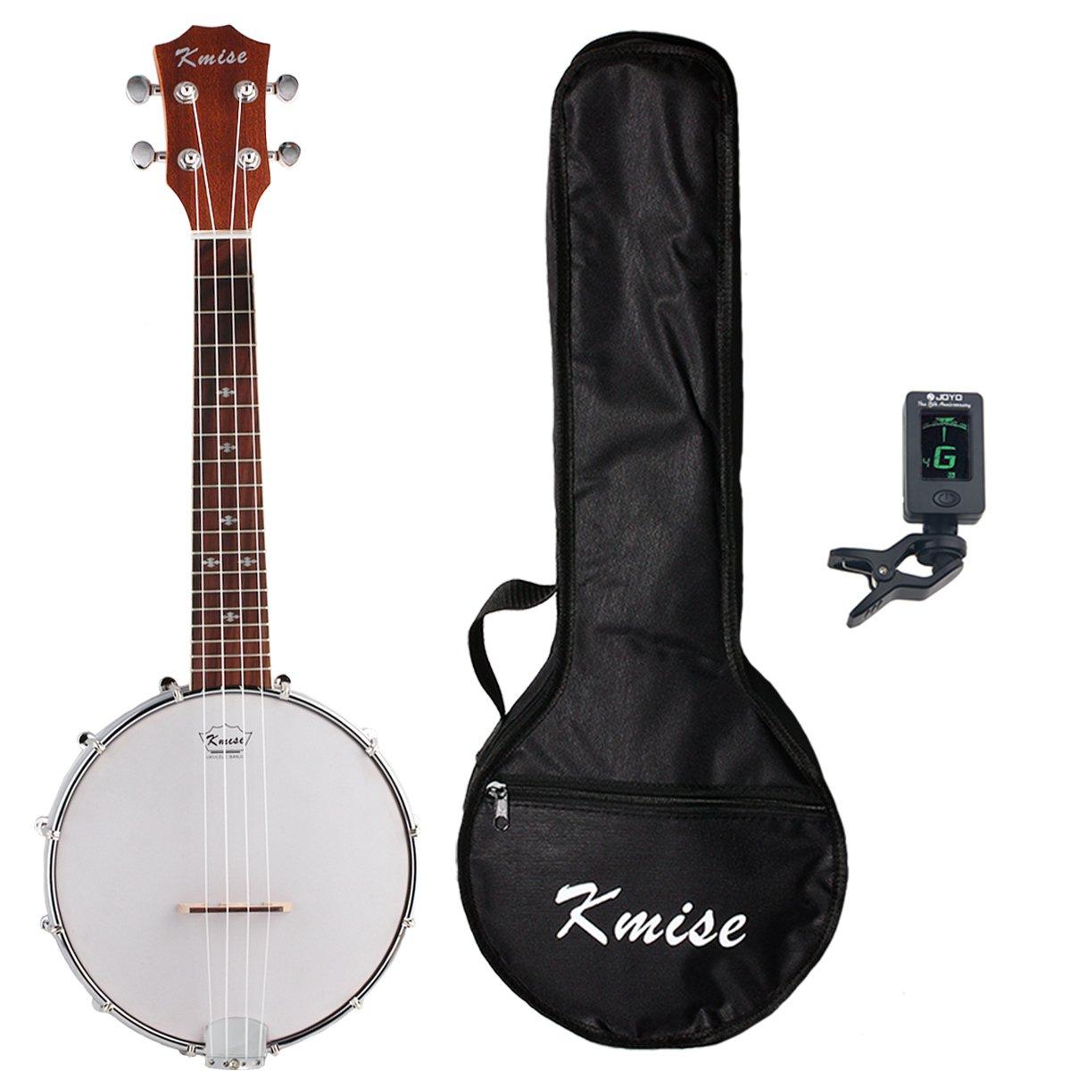 Kmise Banjo Ukulele 4 Saiten Konzert Banjos Sapele Holz Aquila Saiten mit Tasche Tuner Ltd