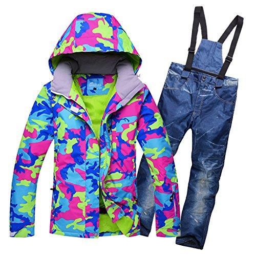 YFF La Mujer Traje de esquí paraviento Impermeable al Aire ...