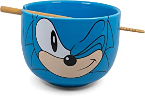 JUST FUNKY Sonic The Hedgehog Japanese Ceramic Dinnerware Set   Includes 14-Ounce Ramen Bowl and Wooden Chopsticks   Asian Food Dish Set for Home Kitchen   Fun Gamer Gifts