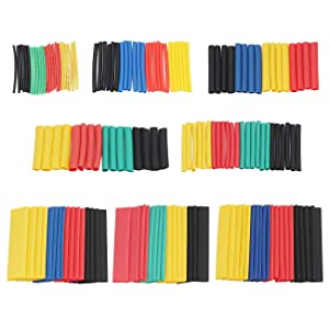 ZYAMY 328pcs 2:1 Heat Shrink Tube Wrap Wire Cable Insulated Sleeving Tubing Set Polyolefin Shrinking Assortment Kit 8 Sizes 5 Colors