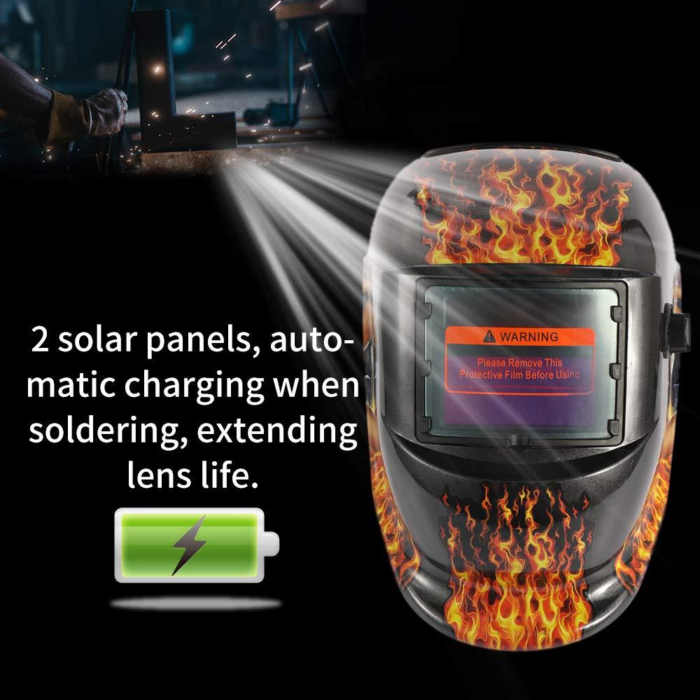 KKmoon M/áscara de soldadura de luz solar variable de energ/ía solar TIG casco de soldadura por puntos con perilla ajustable