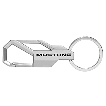 Ford Mustang Silver Snap Hook Metal Key Chain by iPick Image, Made in USA