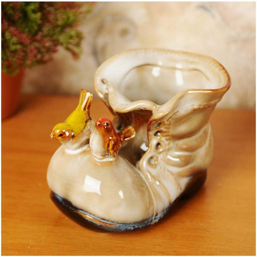 Color : Blue Ceramic Creative Animal Shoes Boots Flower Vase Pot Home Decor Pen Case Craft Room Decoration Handicraft Porcelain Figurine