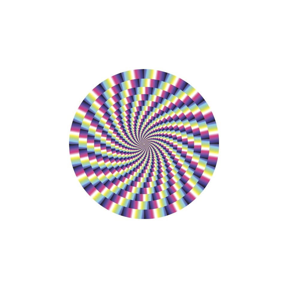 SPIRAL OPTICAL ILLUSION PINK PURPLE BLUE GREEN YELLOW BLACK WHITE Vinyl Decal Sticker Two in One Pack (4 Inches Wide)