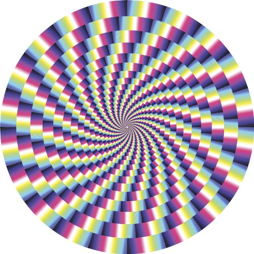 SPIRAL OPTICAL ILLUSION PINK PURPLE BLUE GREEN YELLOW BLACK WHITE Vinyl Decal Sticker Two in One Pack (12 Inches Wide)