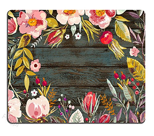 (Gaming Mouse Pad Custom Design, Vintage Background with Hand Drawn Floral Wreath Image on Rustic Wood )
