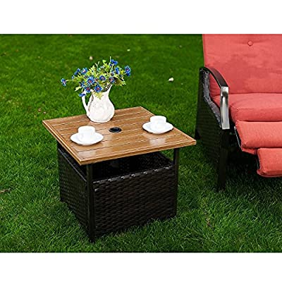 """Naturefun Outdoor PE Wicker Square Bistro Side Table, Garden Leisure Coffee Table with Umbrella Hole - Table size: 21.65"""" x 21.65"""" x 17.72"""" High level 0.35"""" PE Rattan, colorfast, water and moisture proof, wipe clean Powder coated steel frame, light, solid and stable - patio-tables, patio-furniture, patio - 619Db4b2IzL. SS400  -"""