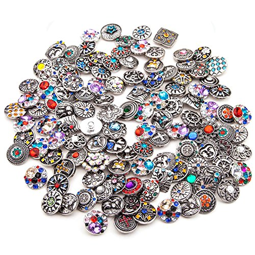 Antique Button Bracelet - Ginooars Pack of 10 18-20mm Antique Silver Color Rhinestones Snap Buttons for Interchangeable Snaps Jewelry Making-Bracelet,Necklace