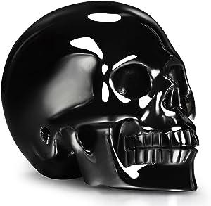 "Skullis 2.0"" Black Obsidian Crystal Skull, Hand Carved Gemstone Fine Art Sculpture, Reiki Healing Stone Statue."