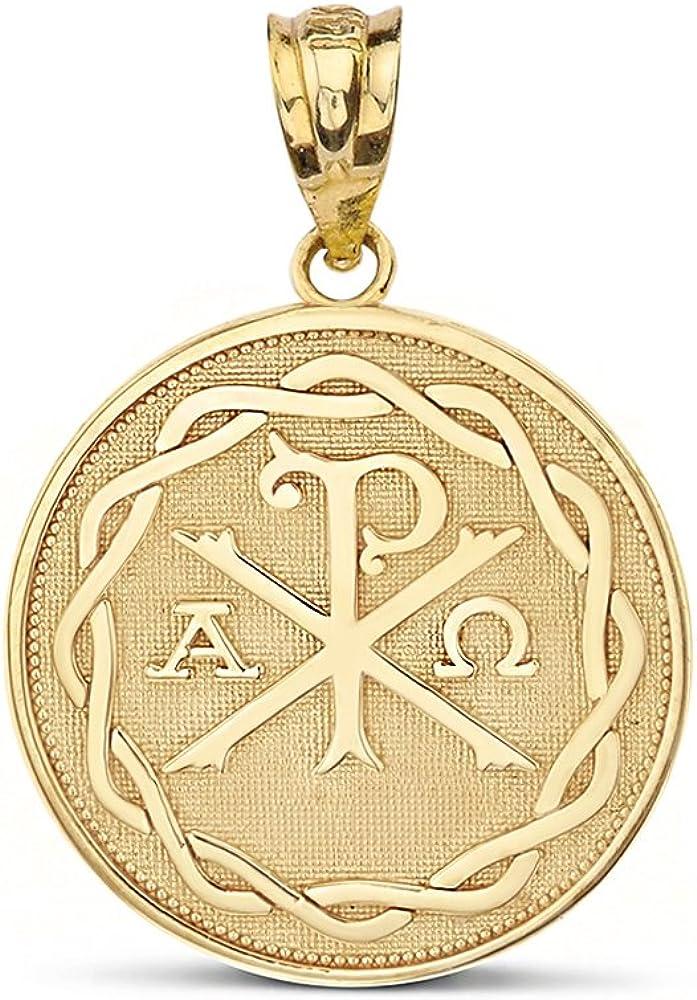 14k Yellow Gold Chi Rho Alpha Omega Symbol Medallion Round Pendant