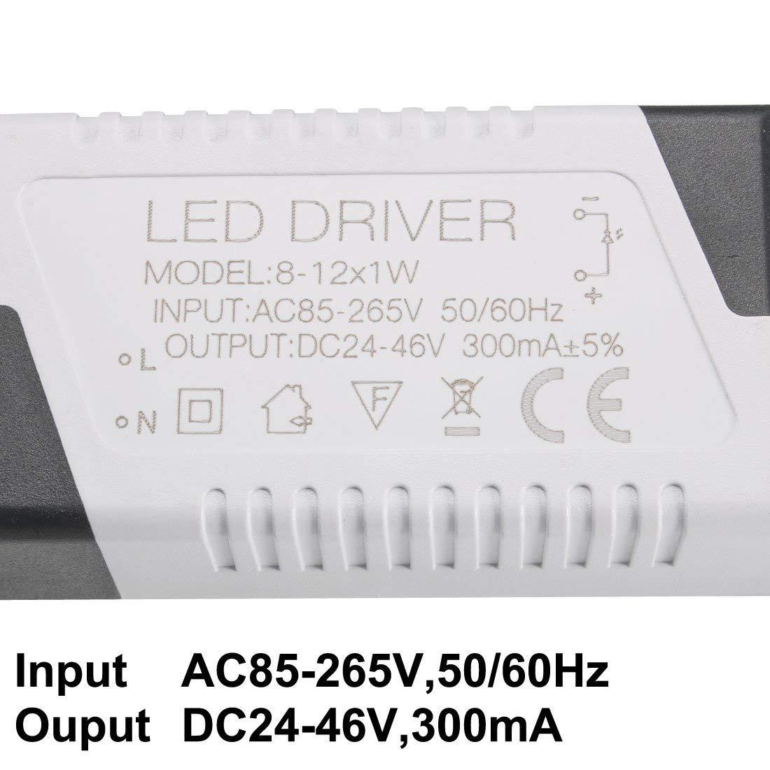 ad alta potenza 12-18W Sourcingmap 300 mA 2pcs Trasformatore a LED a corrente costante