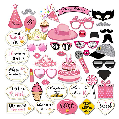 CC HOME Sweet 16 Party Supplies Decorations,Sweet 16 Photo Booth Props,Pink 16th Birthday Party Supplies, Happy Sixteen Photo Booth Props for 16th Birthday Party Favors Supplies for Girls 44 Pcs