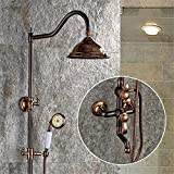 FHLYCF European Style Black Bronze shower set, full bronze retro shower, adjustable shower faucet hand sprinkler